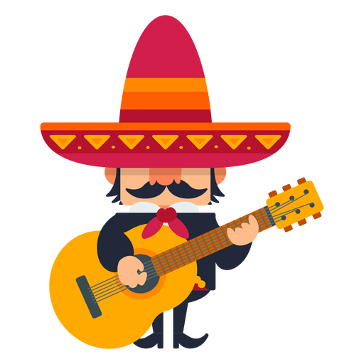 Mexican transparent background png. Mariachi playing guitar svg
