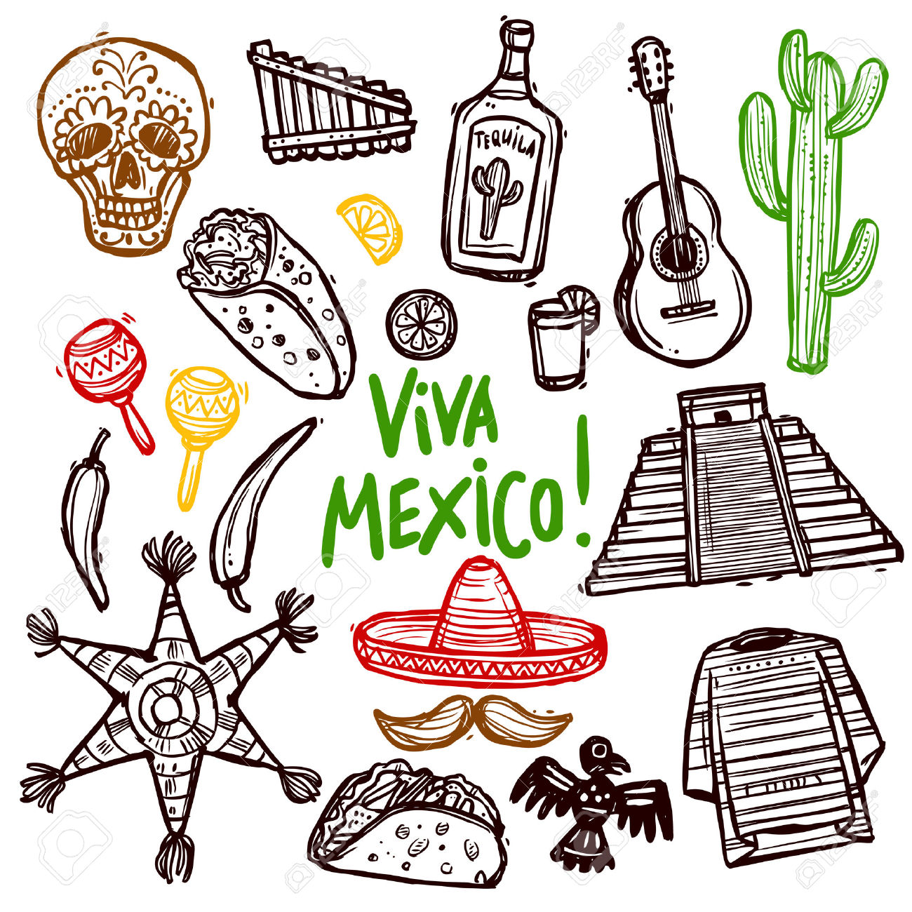 Mexico clipart drawing. Mexican food at getdrawings