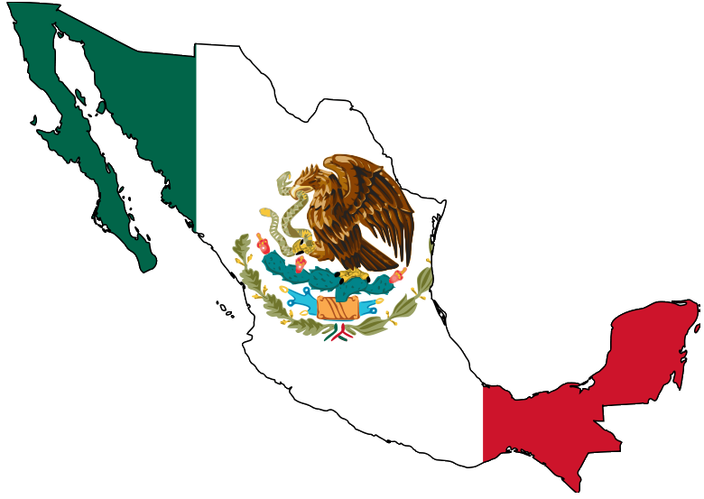 Mexico country png. File map with flag