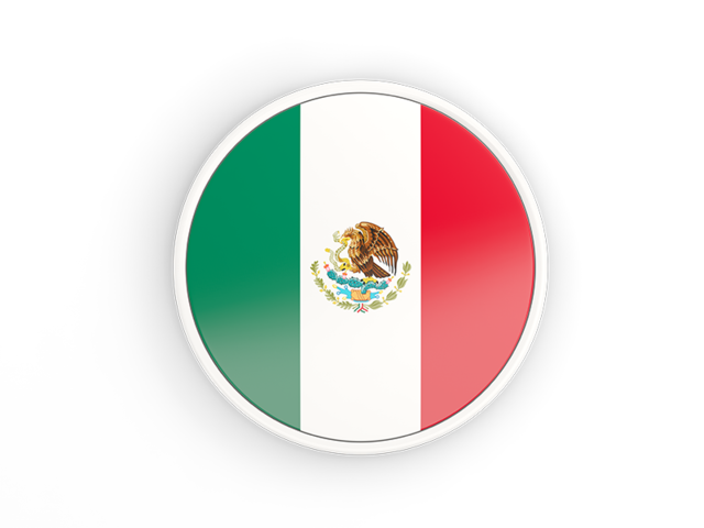 Mexico flag icon png. Round with white frame