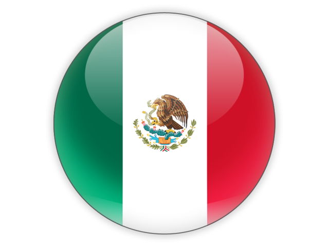 Mexico flag icon png. Round illustration of