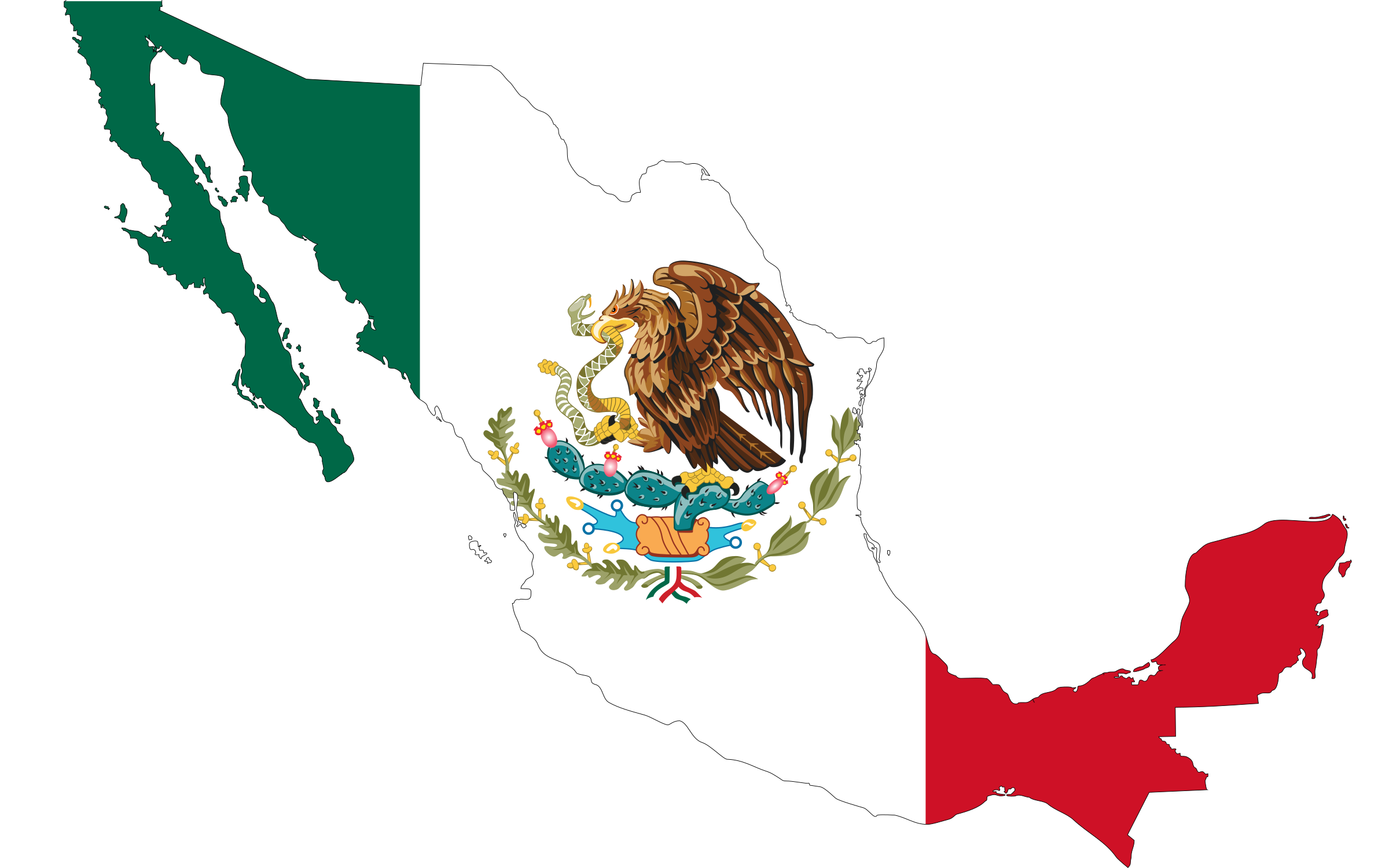 México png outline. Mexico flag map icons