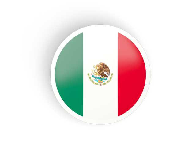 Mexico flag icon png. Round concave illustration of