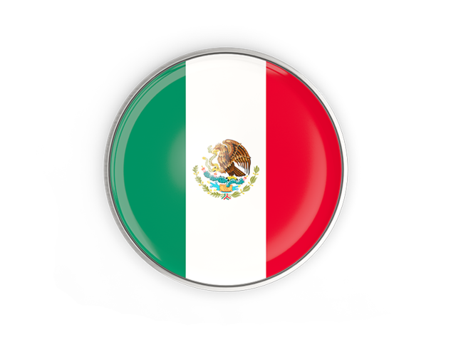 Mexico flag icon png. Round button with metal