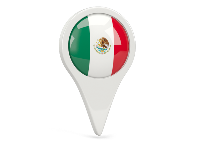 México png pin. Round icon illustration of