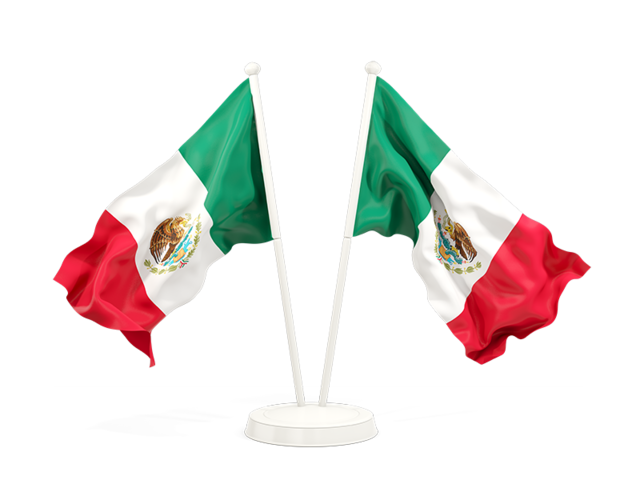 Mexico flag waving png. Two flags illustration of