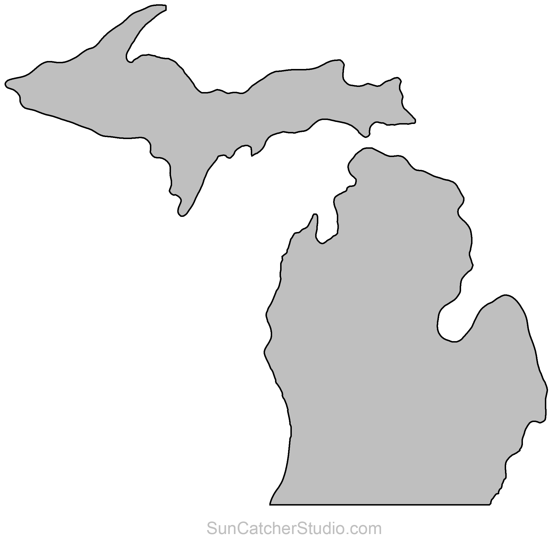 Michigan clipart shape. State outlines maps stencils