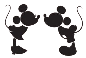 Mickey and minnie kissing png. Silhouette clipart