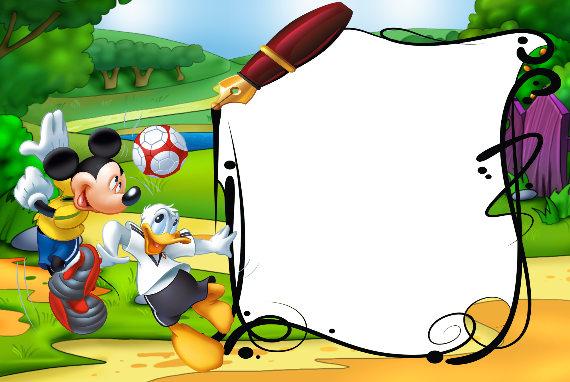Mickey border png. Mouse and duck kids