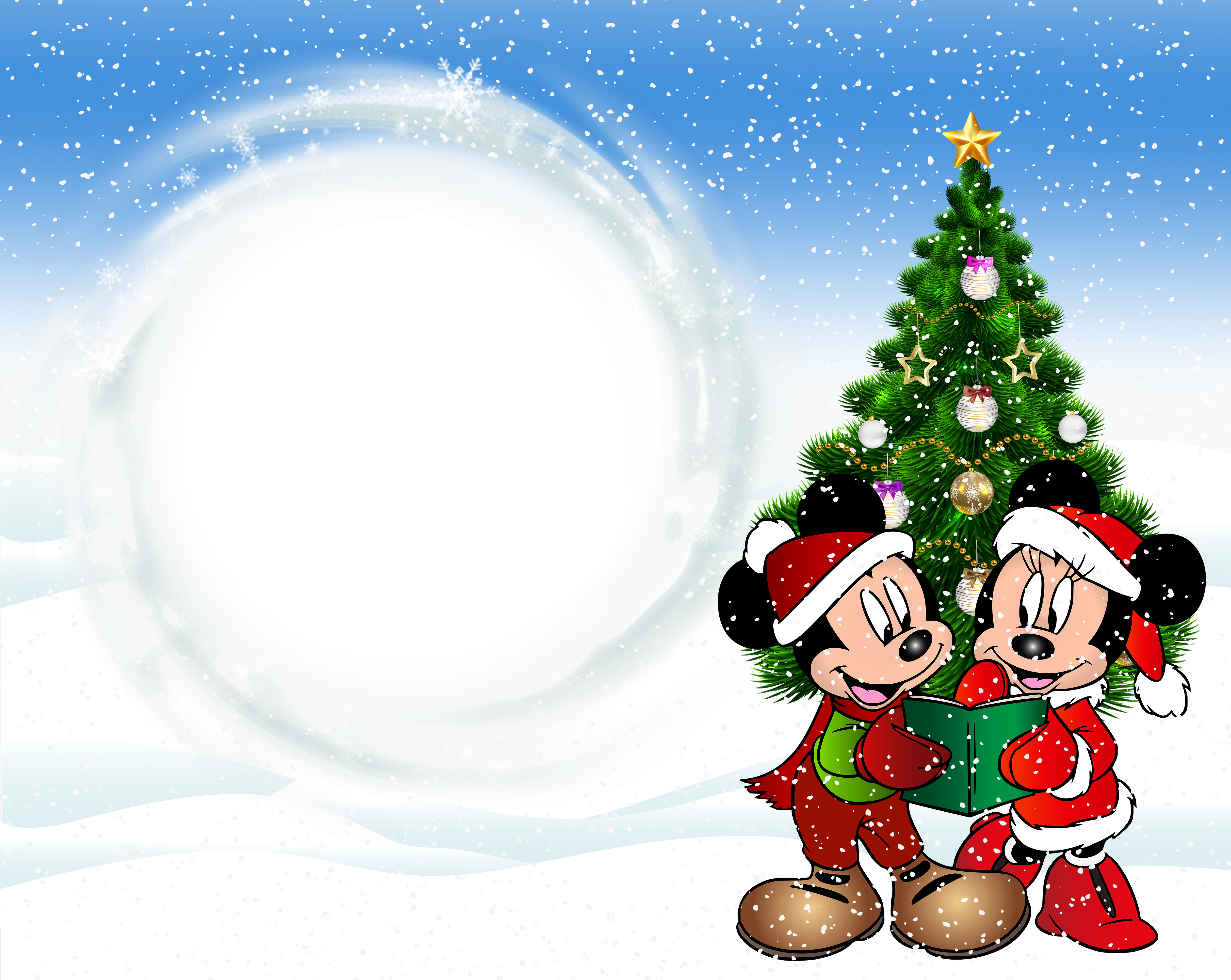 Kids transparent christmas. Frame with mickey mouse
