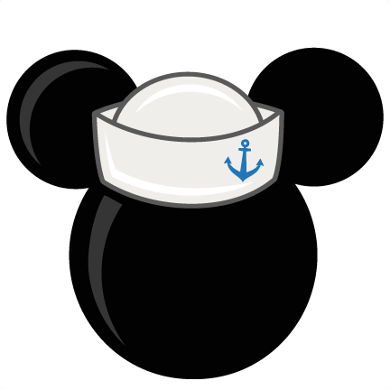 Mickey mouse head outline png. With sailor hat freebies