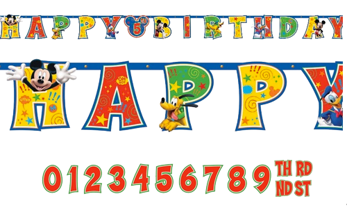 Mickey mouse banner png. Birthday just for kids