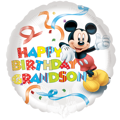 Mickey mouse happy birthday png. Grandson foil balloon