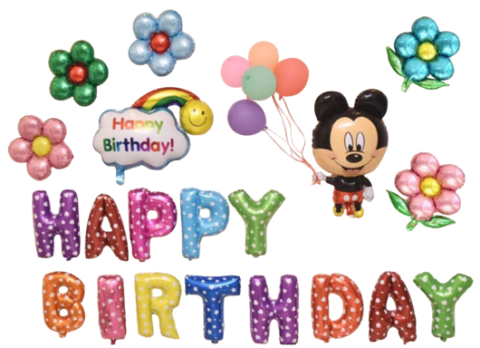 Mickey mouse happy birthday png. Rainbow balloon set superaprons