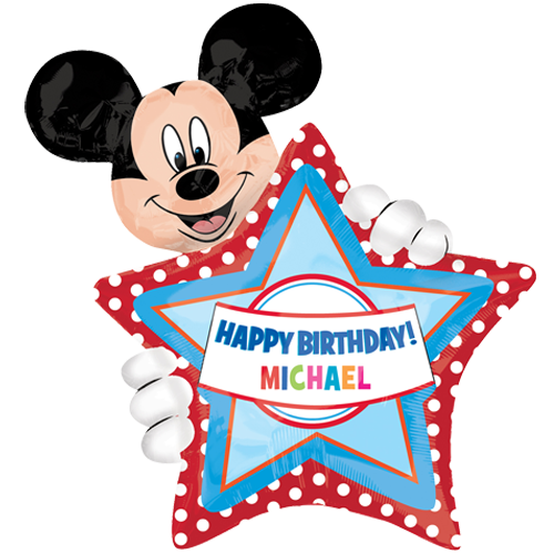 Mickey mouse happy birthday png. Personalised foil balloon