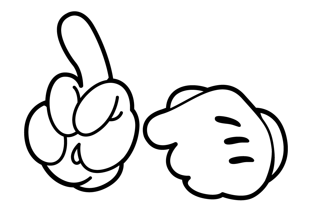 Mickey mouse hands or. Shaka drawing stencil graphic freeuse download