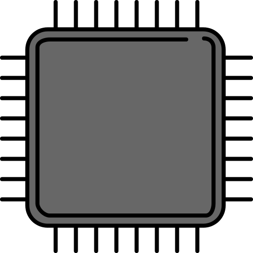 Microchip vector electronics. Multicolor chip png icons