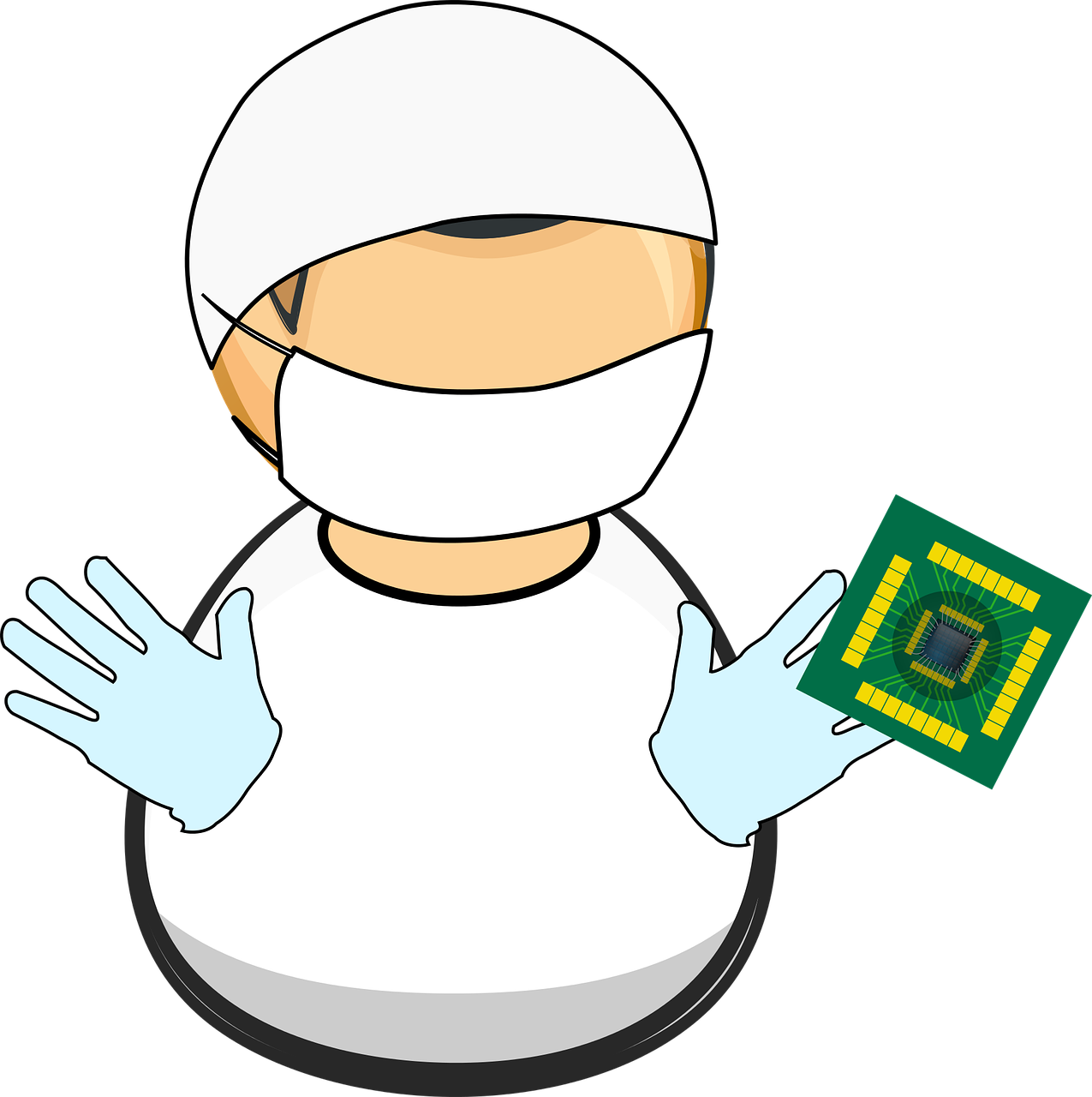 Microchip vector electronics. Chip clean comic characters