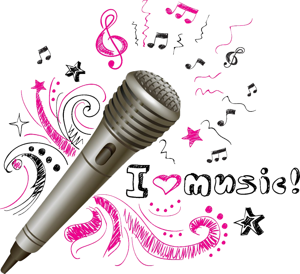 Microphone and music notes png. Musical note drawing hand