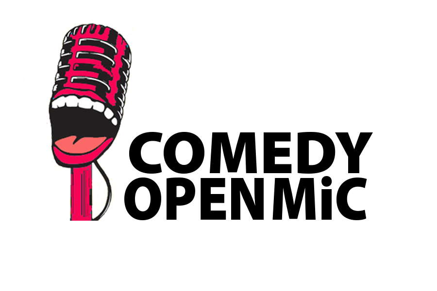 Microphone clipart comedy. Open mic logo and