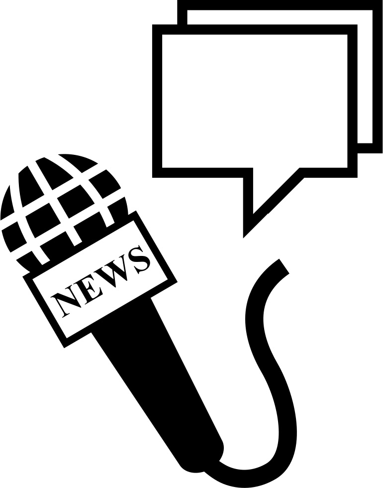 Microphone clipart news. And speech bubbles svg