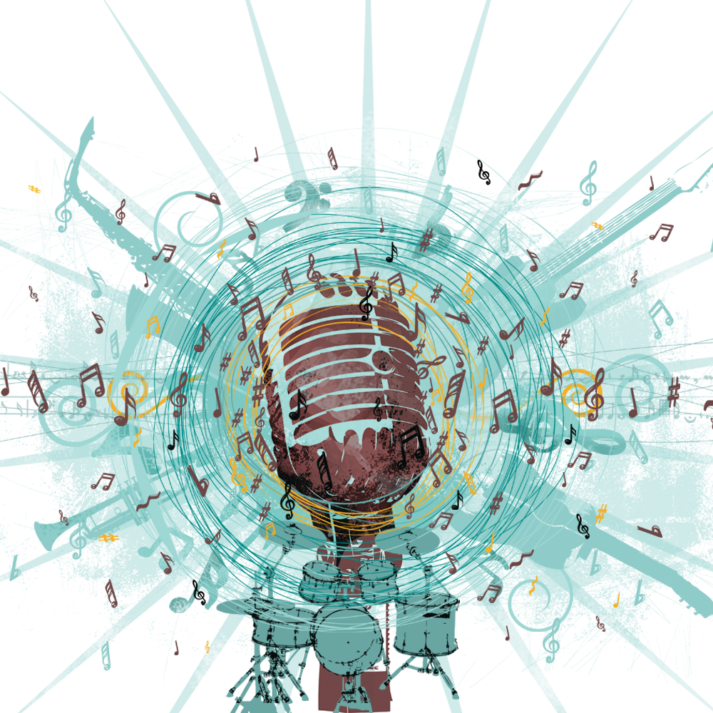 Microphone music notes png. Background with free microphonebackgroundwithmusicnotes