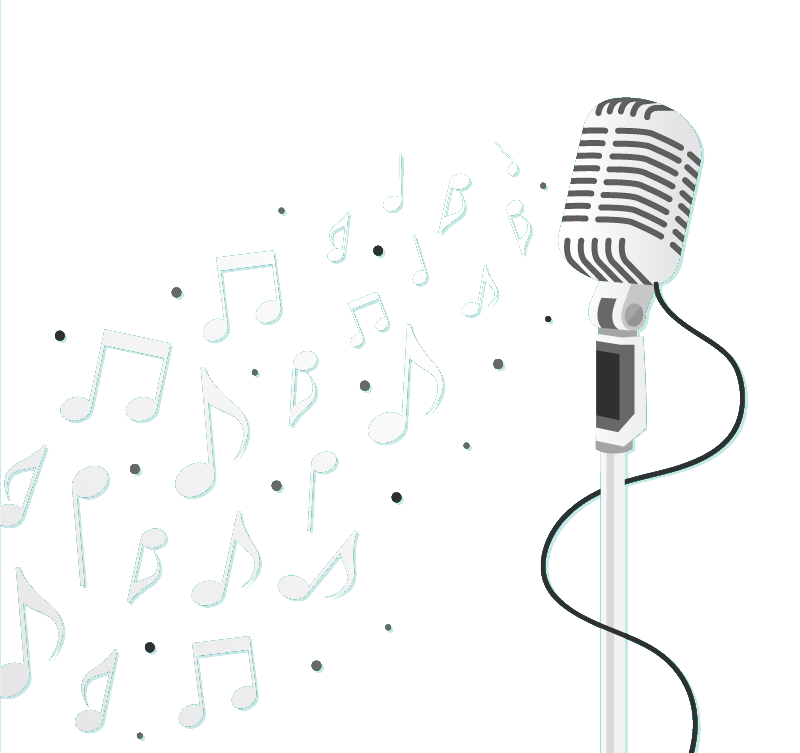 Microphone music notes png. Icon vertical and musical