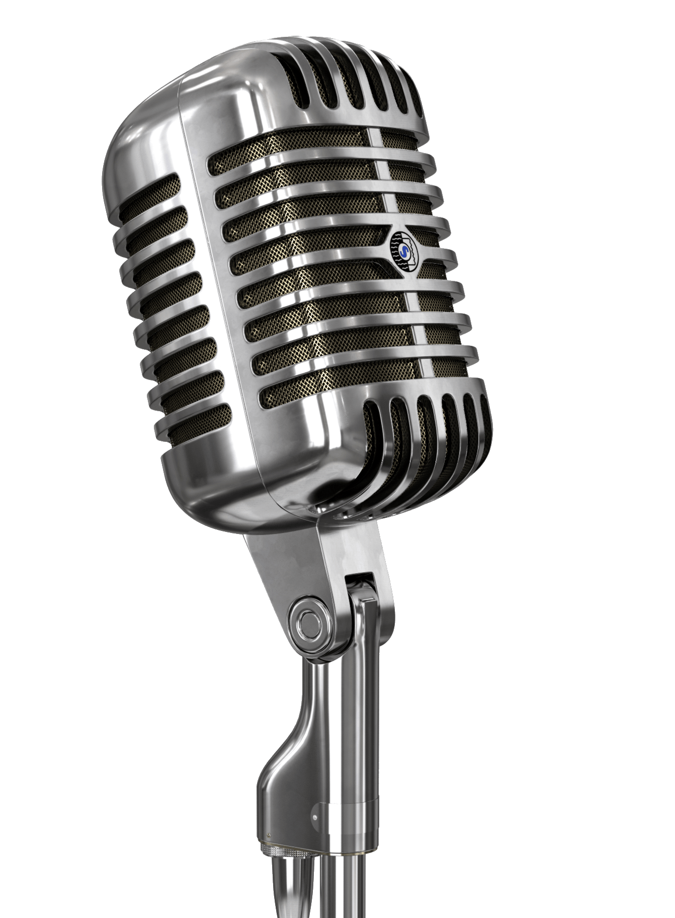 Microphone png image. Vintage and stand transparent