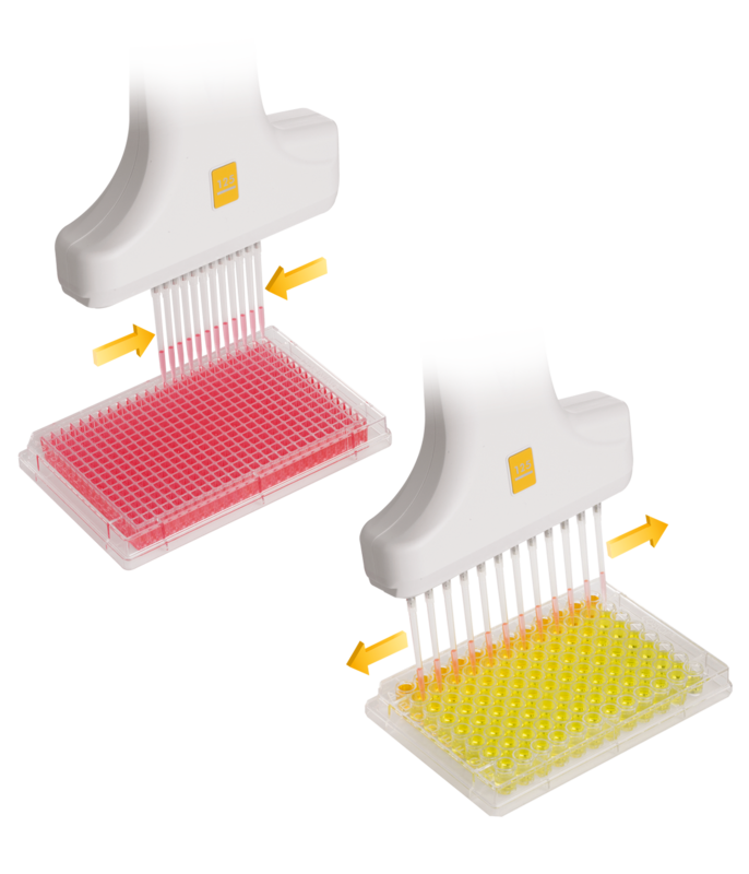 Pipette drawing rack. Voyager adjustable tip spacing