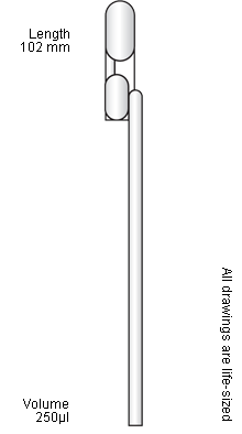 Micropipette drawing 1 ml. Exact volume pasteur pipettes