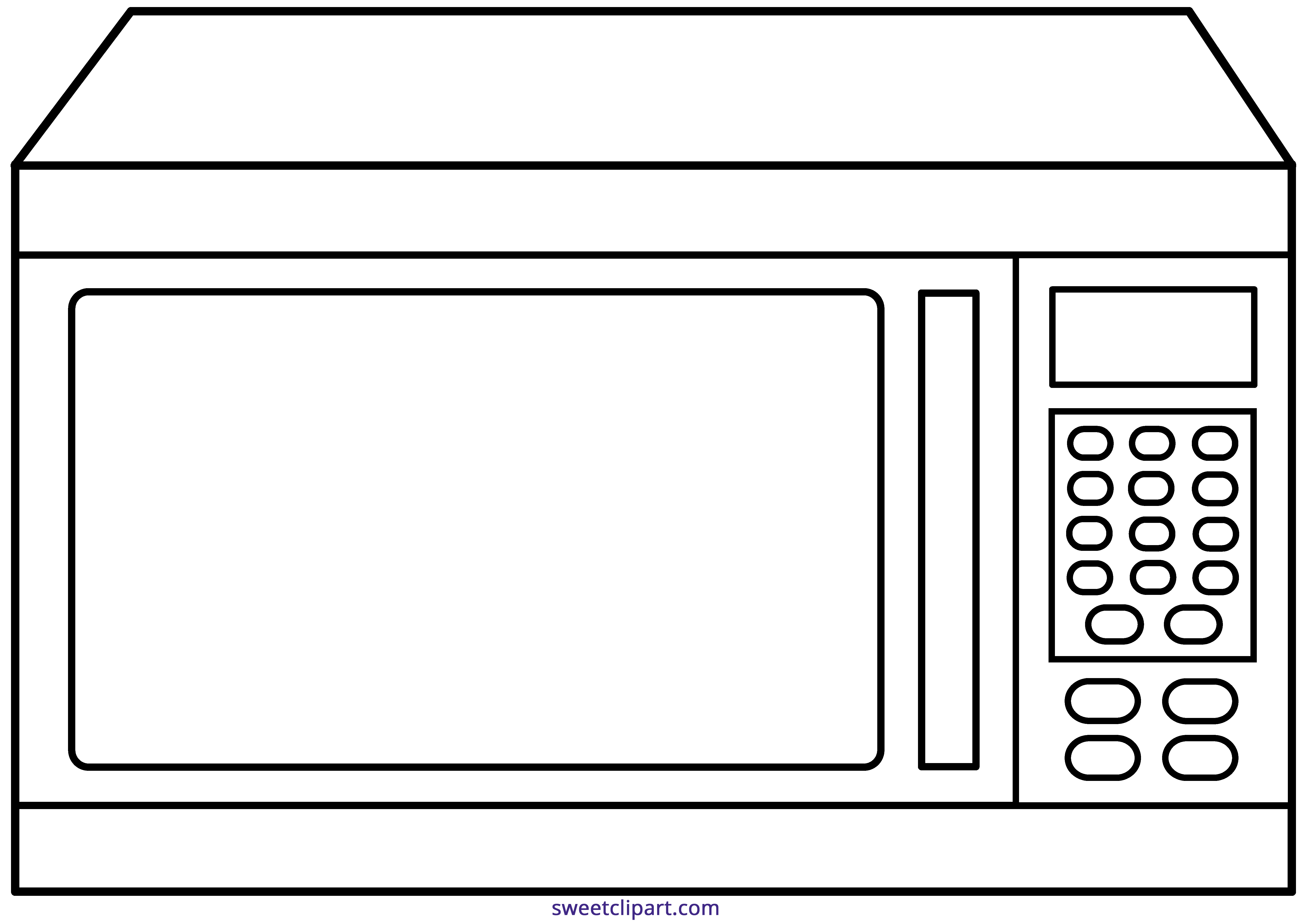 Microwave clipart. Outline sweet clip art
