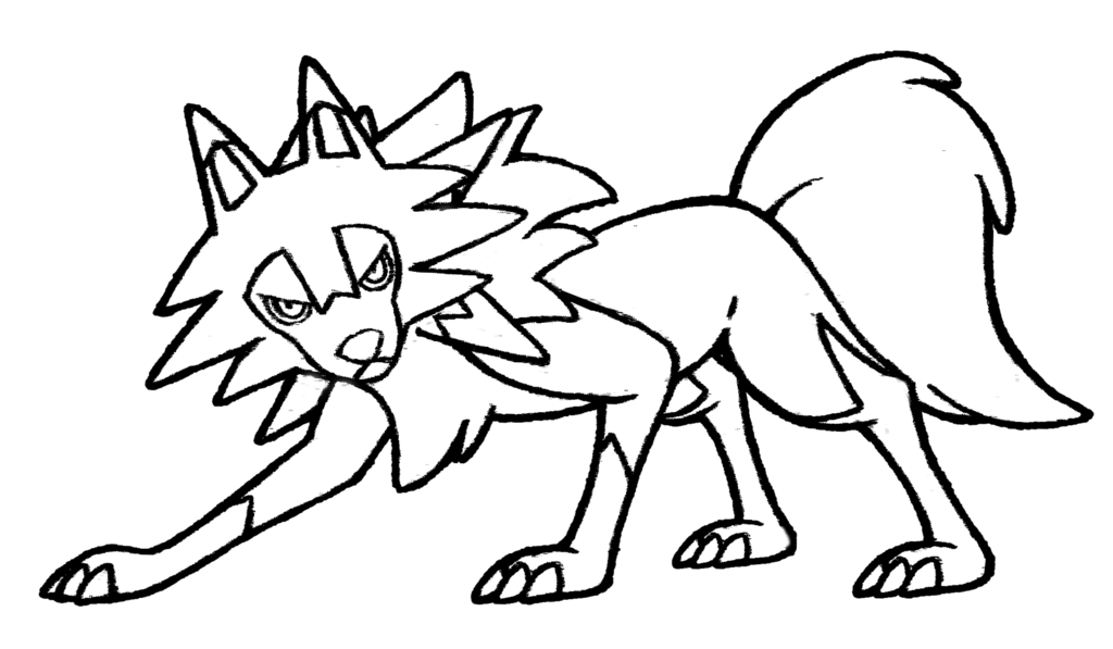 Midday drawing. Lycanroc form by