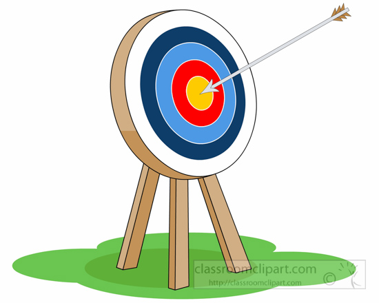 Middle clipart. Archery target with arrow
