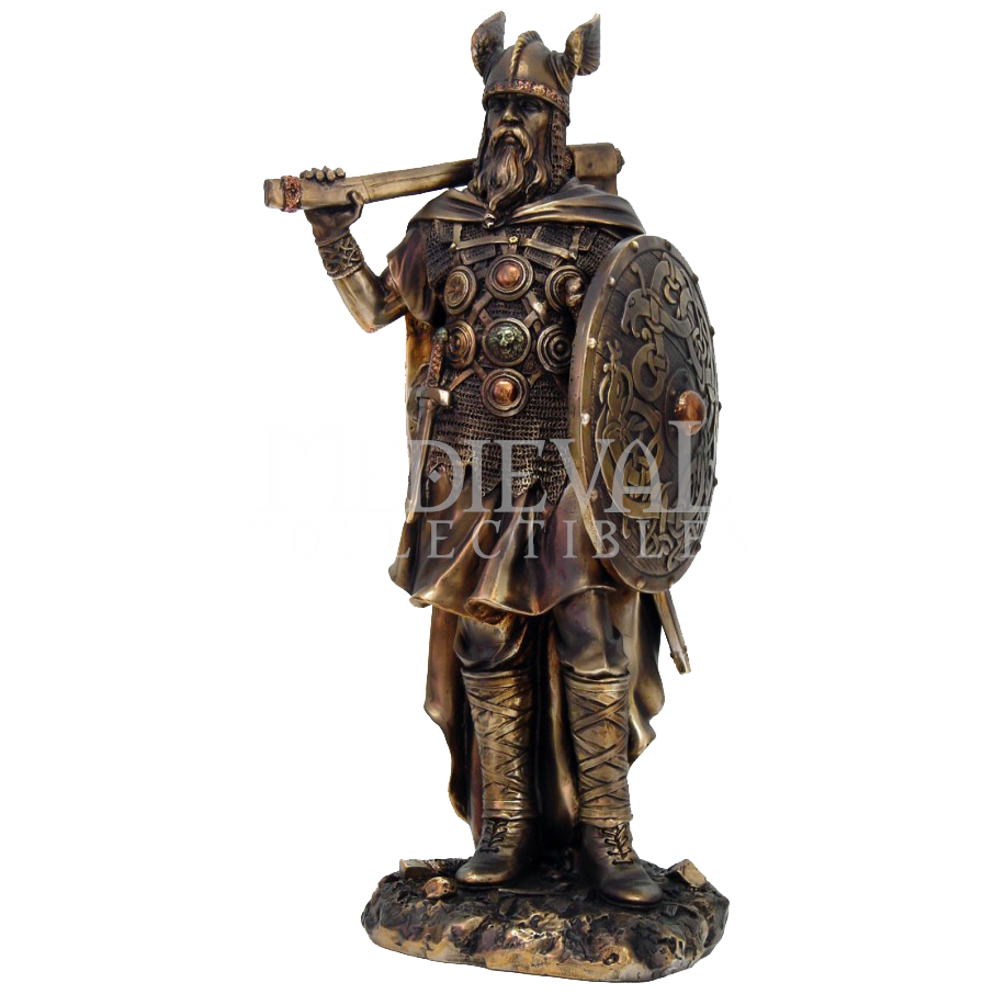 Midevil statue vector png. Victorious viking warrior cc