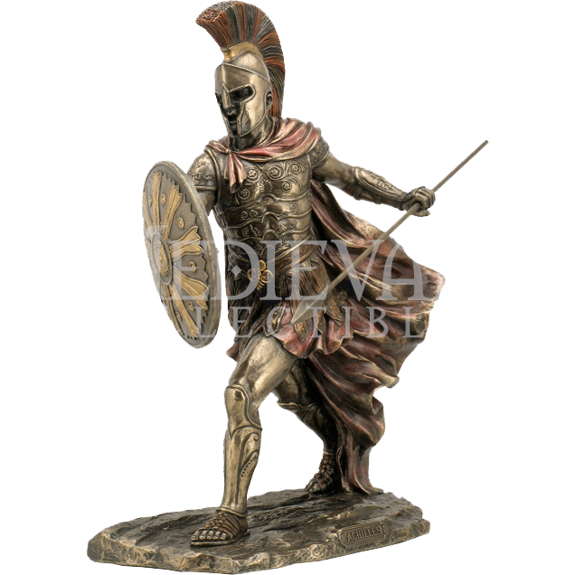 Midevil statue vector png. Achilles with spear and