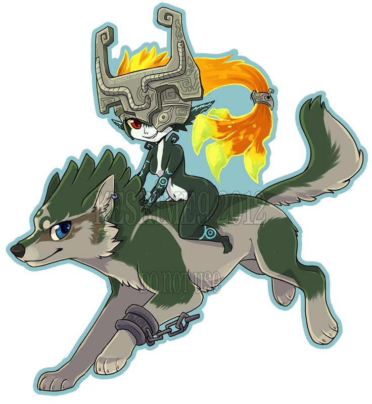 Midna drawing wolf link. By kaceymeg on deviantart