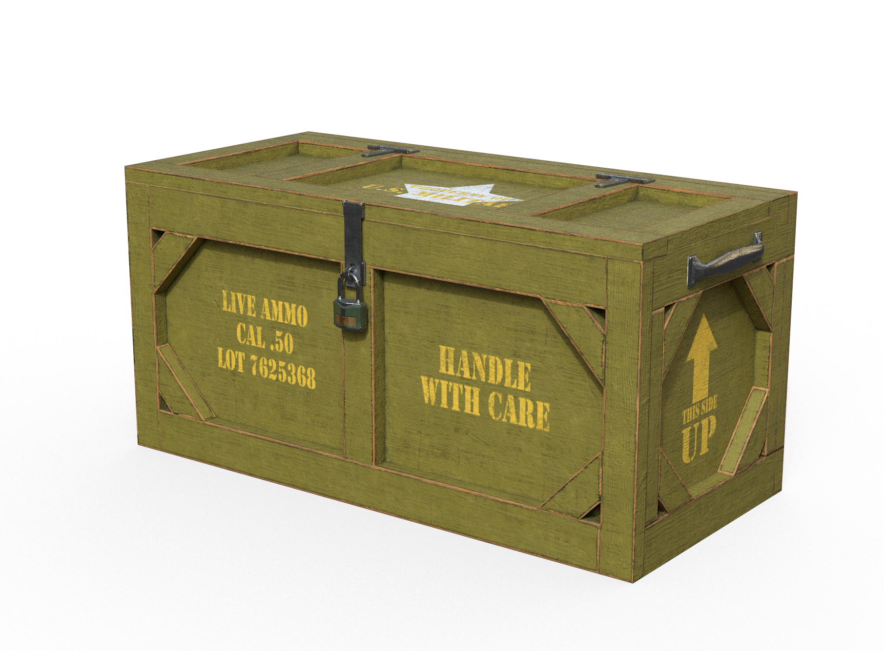 Military crate png. Wooden case pbr by