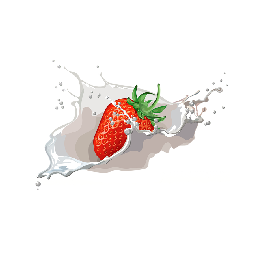 Milk splash vector png. Strawberry with transparent background