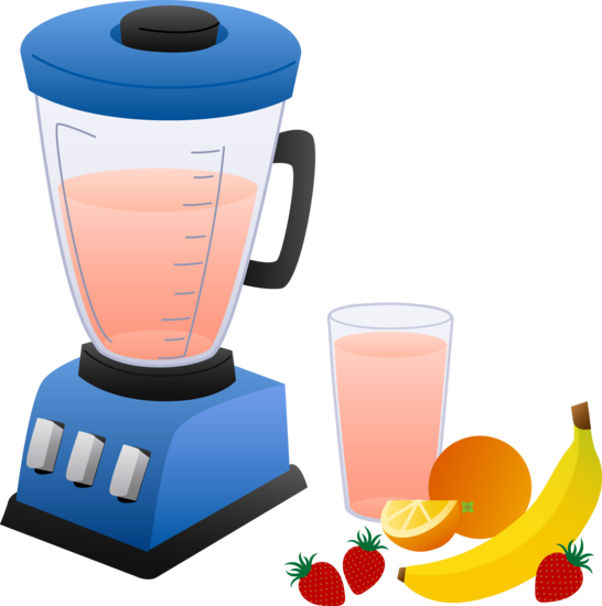 Milkshake clipart smoothie. Blender with fruits and