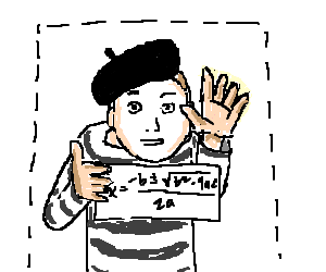 Mime drawing. Holds up sign of