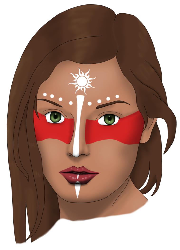Tribal transparent female. Woman with tribe face