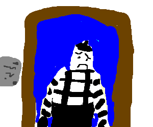 Mime drawing sad. Painting of a by