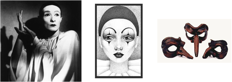 History of the art. Mime drawing drama mask png library stock