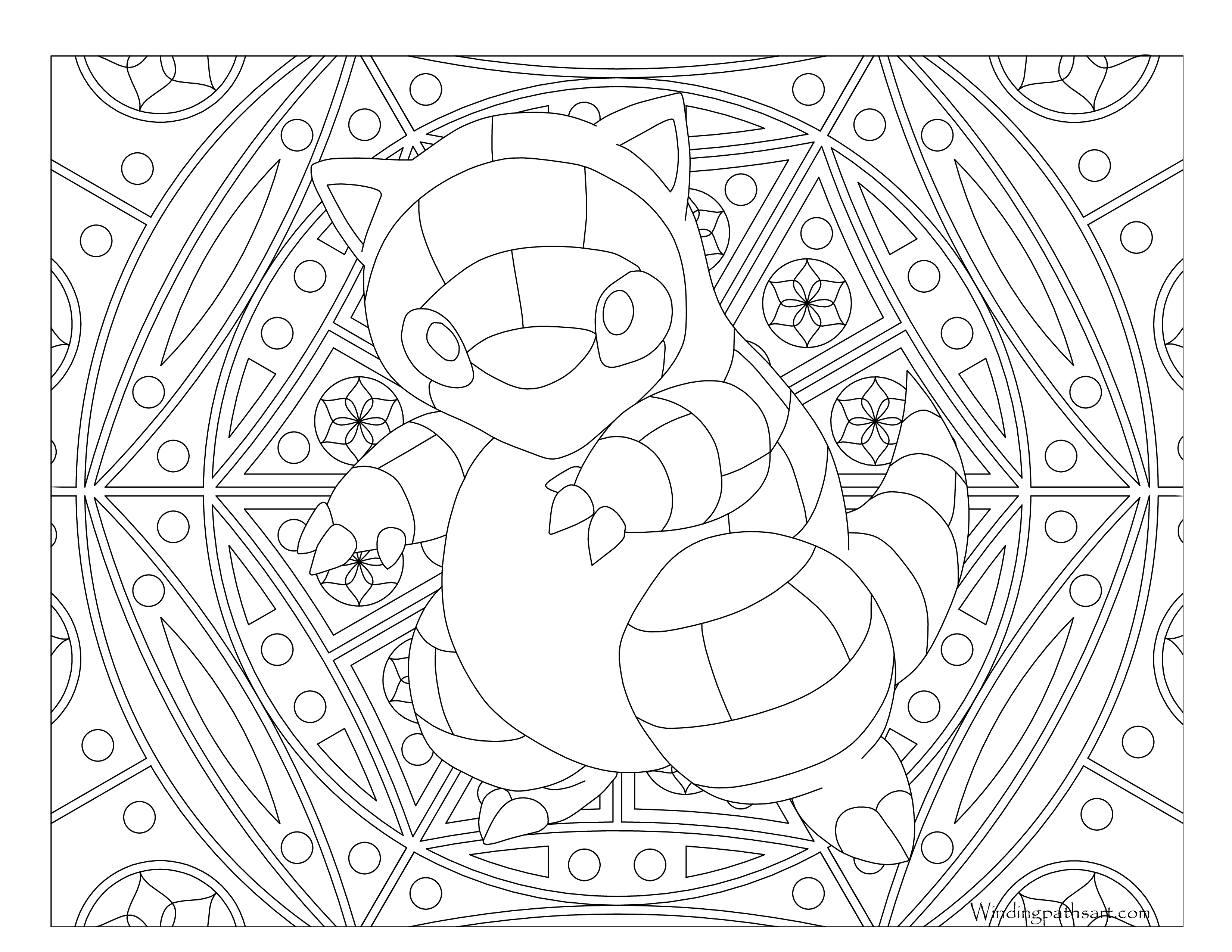 Mindful drawing kid. Sandshrew pokemon coloring