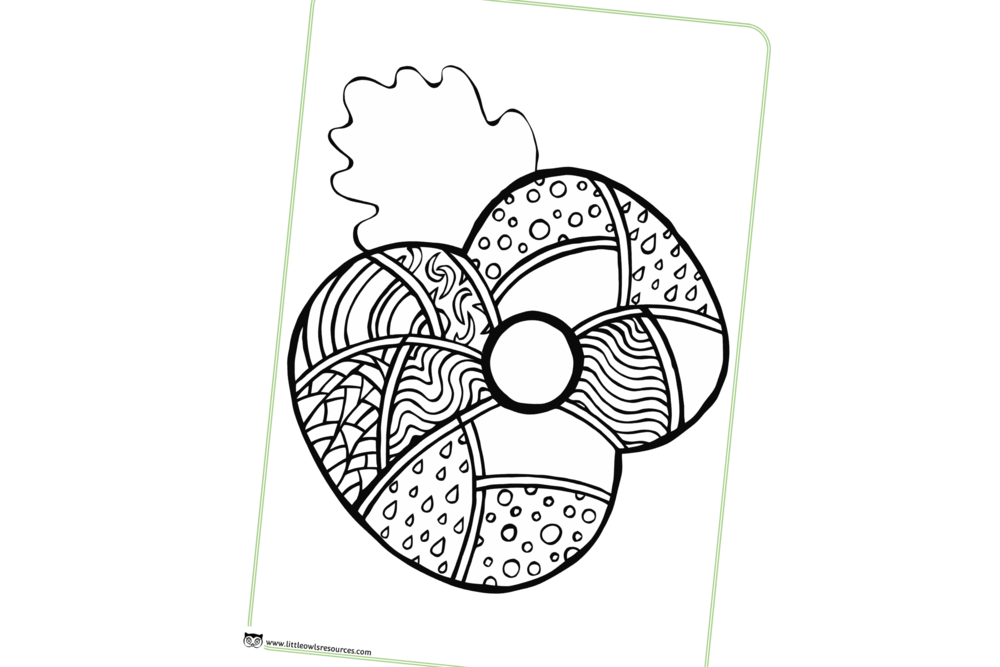 Mindful drawing circle design. Free poppy mindfulness colouring