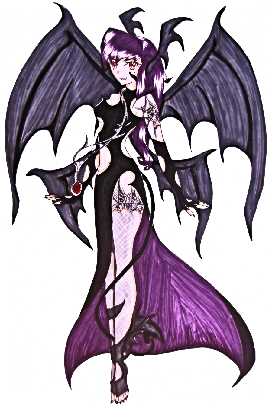 Mine drawing pretty vampire girl. Outfit by x chibix