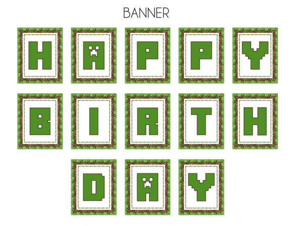 Minecraft banner png. Free printables pinterest party