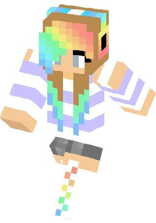 Minecraft clipart minecraft girl. With rainbow hair ggggggg
