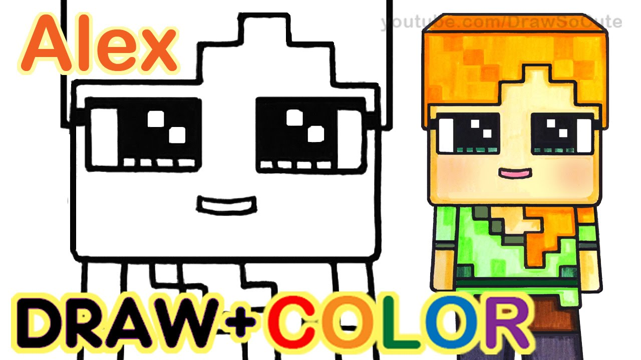 Minecraft clipart minecraft girl. Drawing step by at