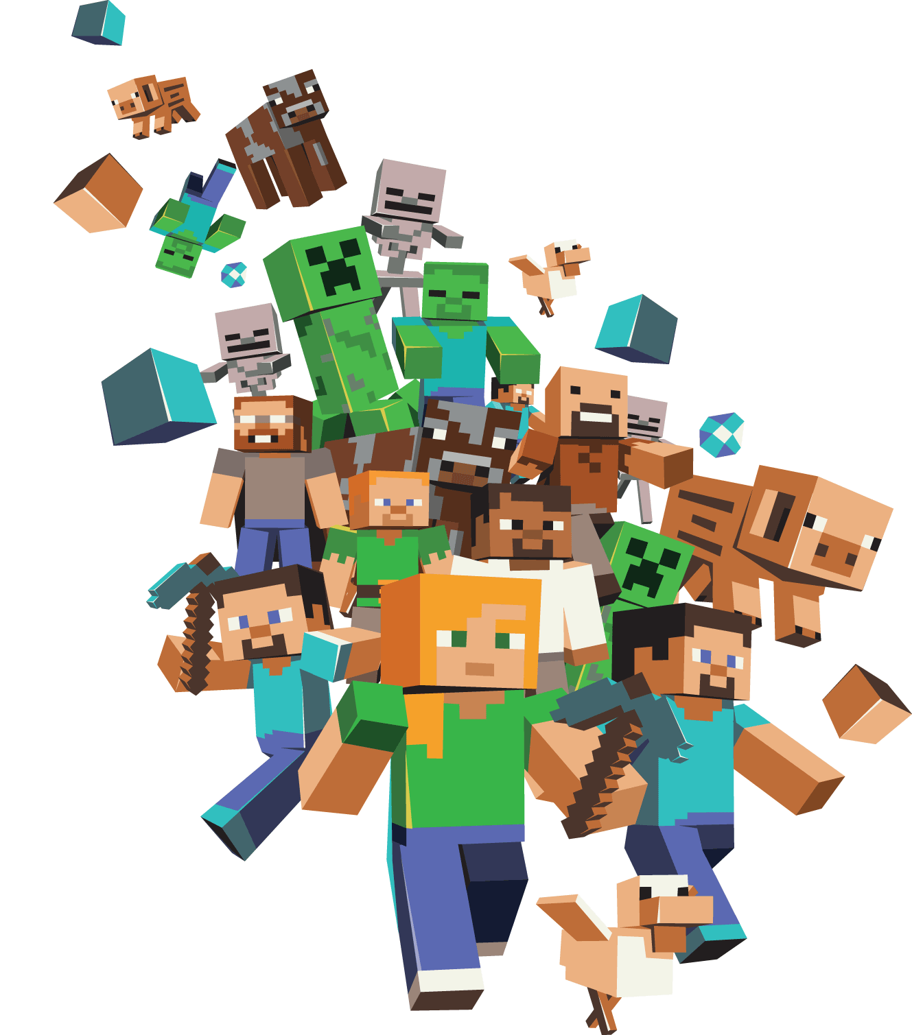 Minecraft clipart transparent background. Large group png stickpng